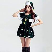 2a6f709bfe596 Yunfeng Costume de père noël pour Femme Vêtements de Lutin père Noël Vert  Cosplay soirée Costume