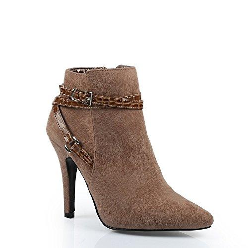 Ideal Shoes-Scarponcini, effetto pelle scamosciata, decorate con un cinturone style rettile Pina Grigio (Grigio tortora)