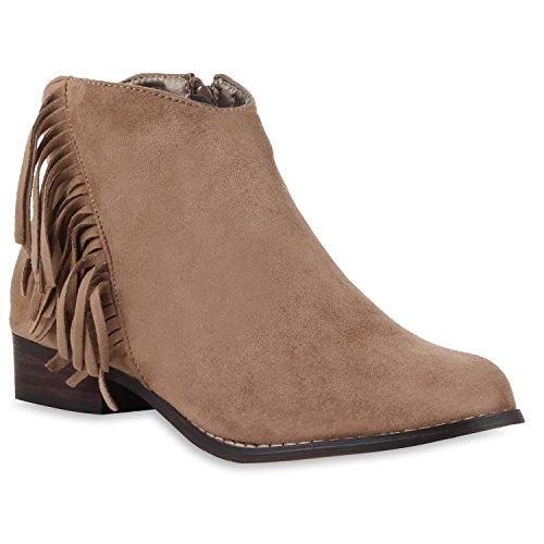 Modische Damen Ankle Boots Fransen Veloursoptik Stiefeletten Khaki