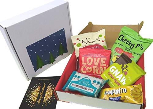 SnackBaron Premium Weihnachtsgeschenk-Snackbox | mit 6 natürliche Snacks - Ausgefallene Weihnachtsgeschenk für Kunden, Mitarbeiter, Chef, Kollegen, Männer & Frauen |Mit kostenlosen Weihnachtskarte