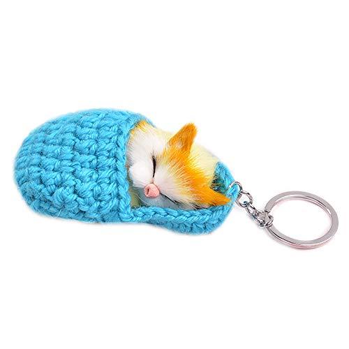 KDSANSO Pom Pom Schlüsselanhänger,Schlafenkatze Pom Pom gesponnenes Kätzchen Keychains Auto-Schlüsselringe,Blau 14 * 5 * 8cm Crystal Pom Poms