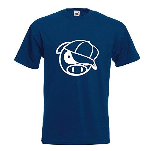 KIWISTAR - schwein mit bascap T-Shirt in 15 verschiedenen Farben - Herren Funshirt bedruckt Design Sprüche Spruch Motive Oberteil Baumwolle Print Größe S M L XL XXL Navy