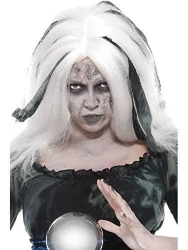Halloweenia - Kostüm Accessoires Zubehör Glatte Damen Langhaar Perücke mit Grauen Strähnen im Voodoo Wahrsagerin Stil, perfekt für Karneval, Fasching und Fastnacht, Weiß