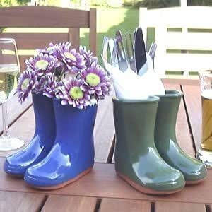 pot bottes terre cuite miniature avec vernis bleu hauteur 12cm jardin. Black Bedroom Furniture Sets. Home Design Ideas