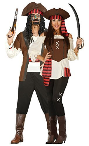 Fancy Me Paar Damen & Herren Seven Seas Piraten Piraten TV Film passend Kostüm Verkleidung Outfit - Braun, UK 16-18 - Mens Large