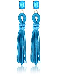 Fasherati Türkis Blue Bohemian Stil Kristall mit langen Quasten Tropfen Ohrringe für Frauen