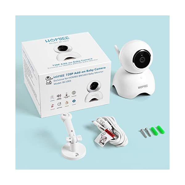 HOMIEE 720P Camera Exclusive for HOMIEE Baby Monitor, Two Way Audio, Night Vision, VOX, Lullaby, Sound & Temperature Alert, 1000ft Connection (Additional Camera) HOMIEE 【Version Compatibility】This additional camera is only compatible with HOMIEE Baby Monitor White (ASIN: B07W8NFSPX). If you don't know how to pair, please contact us, we will send you instructions. 【Night Vision】The baby camera features an invisible IR LED sensor for Infrared Night Vision (range can up to 5 meters) to deliver clear videos in darkness without disturbing the baby. it will alarm when baby is crying and temperature gets too high or too low. 【355 -Degree Omnidirectional Coverage】The camera can be wireless controlled to rotate about 355 degree horizontally, to bow and lie down between 70 degree at most. HOMIEE video baby monitor also supports zoom for closer views on screen. 9