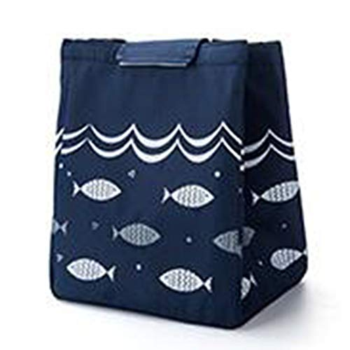 Forberesten Large Capacity Lunch Box Bag Portable Canvas Insulated Thermal Lunch Box Storage Bag Food Picnic Tote for Women Men Kids(Navy)