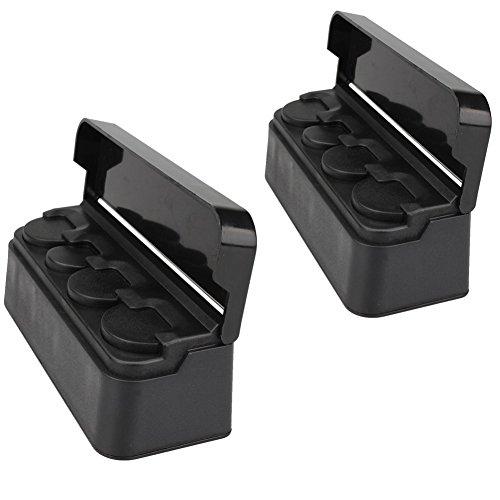 Soleebee Negro Portable Auto Car Coin Holder Caja de Almacenamiento Organizador de Monedas con Cubierta (Paquete de 2)