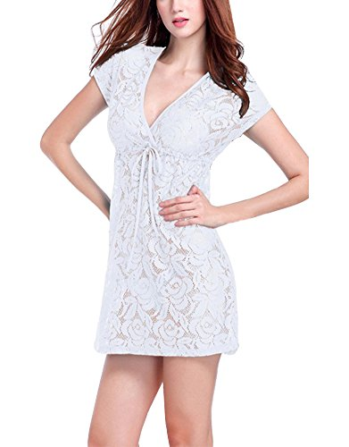Casual Kleid Strandkleid V-Ausschnitt Beachwear Spitzenkleid Freizeitkleid Damen Weiß