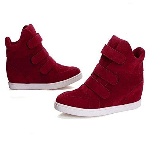 Stiefel Damen Clode® Frauen Schuh Herbst Winter versteckte Ferse Menge Art und Weisekeil beiläufige Schuhe Rot