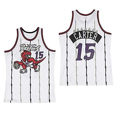 LLZYL Cooles, Atmungsaktives Material, NBA Toronto Raptors 15# Vince Carter Vintage All-Star-Trikot, Herren- Und Unisex-Basketball-Shorts, T-Shirt-Trikot,White,M:175cm/65~75kg Carters, Kleidung