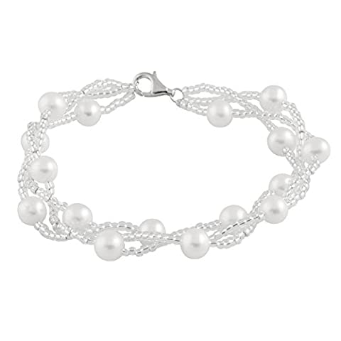 Bella Pearls Freshwater Pearl with Beads Sterling Silver Clasp Bracelet