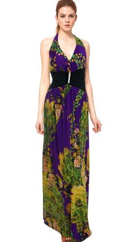 Donna Bella Halter mit V-Ausschnitt rückenfreie Peacock Maxi Abend-Abschlussball-Kleid Lace mehrfarbig Gr 38 (Donna V-ausschnitt)