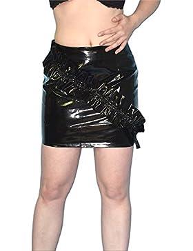 FALDA DE CHAROL con volante - brilla mojado* Talla S * Cyber GOTHIC Minifalda