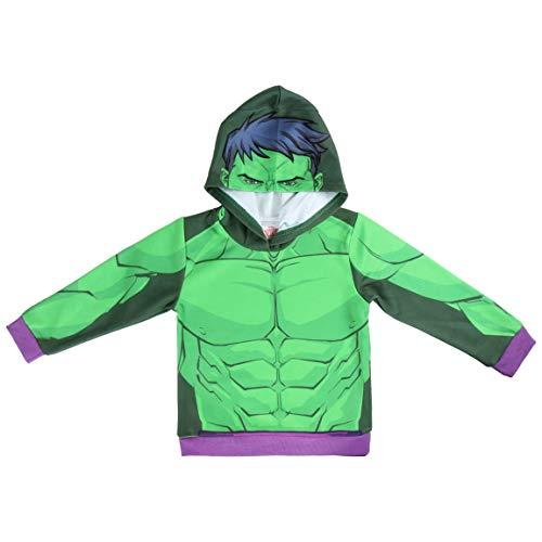 Supereroi Marvel Avengers - Felpa Premium Con Cappuccio - Bambino - Full Print Fronte e Retro - 22-30XX [Verde Hulk - 3/4 anni - 98/104 cm]