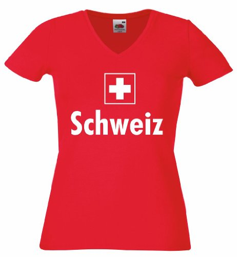 world-of-shirt Damen T-Shirt Schweiz/Suisse Trikot|M