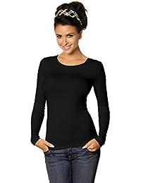16e870fb4608a3 Damen Longsleeve Basic Shirt Stretch-Viskose Langarmshirt Rundhals Top  Bunte Farben Gr. 32