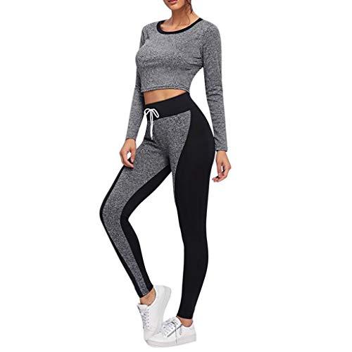 Damen Yoga Outfit,2 Stück Set Dünne Stretch Outdoor Sportswear Sets Solid Color Atmungsaktive Elastizität Fitness Anzüge Trainingsanzug Sportbekleidung Freizeitanzug Bekleidungsset