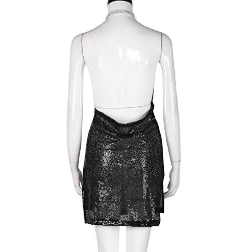 Lolittas Femmes Backless Sequin Robe Ladies Kendall ChaîNe Choker Slip Robe Noir