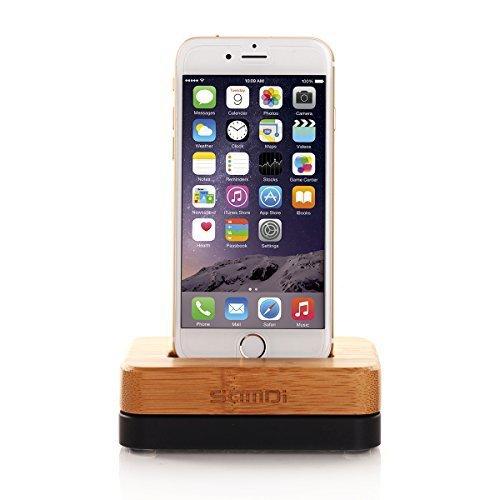 iPhone Ladekabel Dock und stehen, Samdi Holz Schutzhülle Phone Ladestation Desktop Halterung mit Basis aus Aluminium für iPhone 5/5S/6/6S/Plus 7/7plus und andere Handy  Bamboo+Black