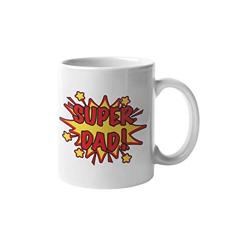 Shirtinator Tasse mit Spruch   Super Dad   Keramik weiß 325 ml   Geburtstag Vatertagsgeschenk Geschenkideen für Vater Kaffee-Tassen Geschenk Weihnachten Vatertag Tassen