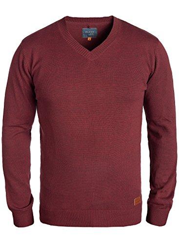 Blend Lasse Herren Strickpullover Feinstrick Pullover Mit V-Ausschnitt Und Melierung, Größe:XXL, Farbe:Andorra Red (73811)