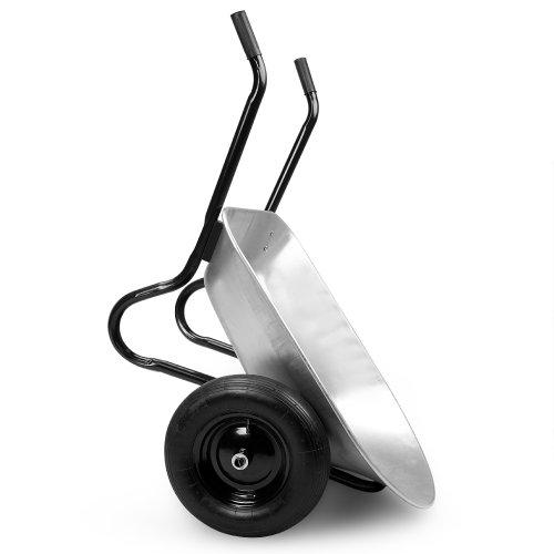 Deuba Monzana® Schubkarre 2Rad 150kg Bauschubkarre 100L Transportkarre Gartenkarre Baukarre | Stahlfelge | 2 Luftreifen | Autoventil | Kugellager - 6