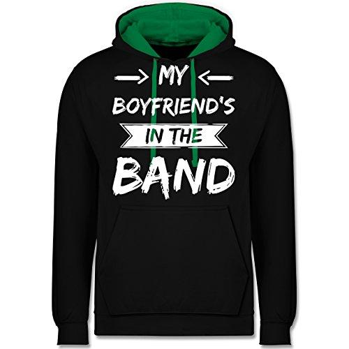 Statement Shirts - My boyfriend's in the band - Kontrast Hoodie Schwarz/Grün