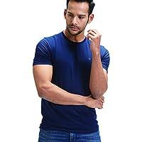 Greyy Men's Supima Cotton Athleisure T-Shirt (Medium, Blue)