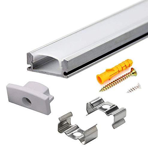 Aluminium LED Profil - 10x1meter Alu-Profil U-form für LED-Streifen, Kompakt Einfach-zu-schneiden mit Komplettes Montagezubehör