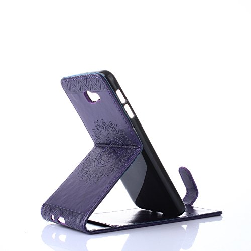 Galaxy J5 2017 Hülle Leder Tasche Flip Cover Samsung Galaxy J520 Wallet Case Alfort Stilvoll Handycover Blau Mandala Blumen Muster PU Ledercase Brieftasche Handyhülle für Samsung Galaxy J5 2017 / J520 Lila