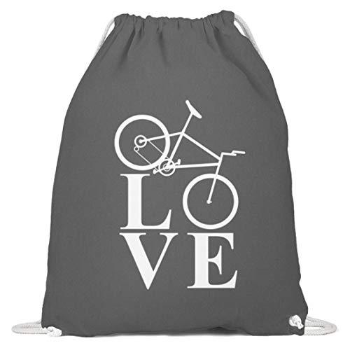 generisch Love Fahrradfahren/Biking/Cycling/Fahrrad/Downhill/Radrennen/Mountain Bike - Baumwoll Gymsac -37cm-46cm-Grafit Grau -