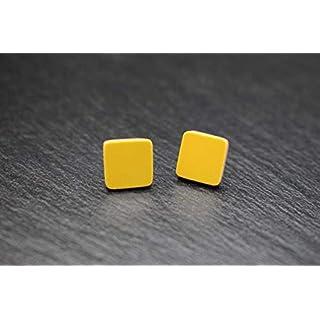 Keramik-Designer-Schmuck für Damen Ohrstecker in dunkel-gelb Handmade Modeschmuck Ohrringe