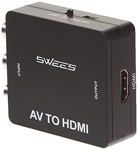 , Swees RCA Composite CVBS AV zu HDMI Video Audio Konverter Adapter Mini Box Support 1080P for TV/PC/PS3/Blue-Ray DVD - Schwarz ()