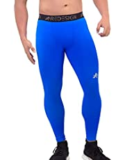 Redesign Compression Pants Tights (Nylon), Skins, Men's Legging, Base Layer for Gym, Running, Swimming, Cricket, Cycling, Football, Yoga, Basketball, Tennis, Badminton & More (Blue)