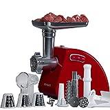 Oursson Tritacarne Elettrico MG5530 con 3 funzioni di tritatura, 1 accessorio per le salsicce, 1 accessorio per il kibbeh, 1 dispositivo per i pomodori, 1500 W, Rosso