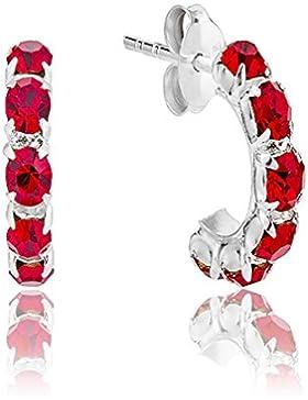 DTPsilver - Damen - Creolen Ohrringe 925 Sterling Silber und Kristall aus Swarovski Elements - Farbe : Light Siam...
