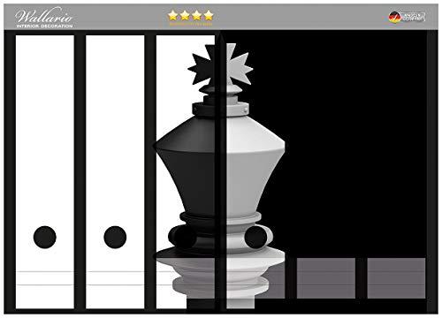 Wallario Ordnerrücken Sticker Schachfigur schwarz-weiß in Premiumqualität - Größe 36 x 30 cm, passend für 6 breite Ordnerrücken