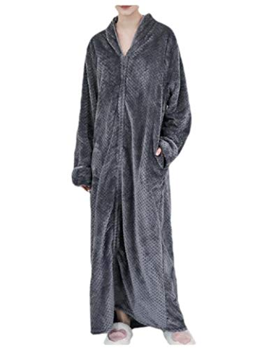 CuteRose Womens Casual Flannel Thick Sleep Dress Zip Oversized Wrap Robe Wine Red L (Fleece-petite-robe)