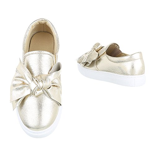 Slipper Damenschuhe Low-Top Moderne Ital-Design Halbschuhe Gold