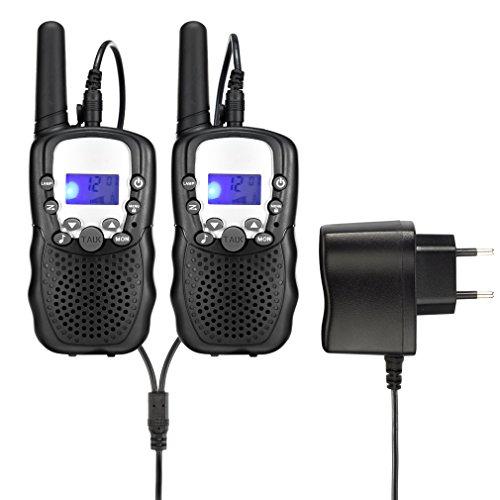 Upgrow RT-388 Walkie Talkie Funkgerät für Kinder mit Wiederaufladbaren Akkus, Kinder Funkgerät Funk Handy , 8 Kanäle mit LCD-Display, Reichweite 3 Km(Schwarz)