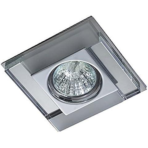 Empotrable de cristal cuadrado Fijo, colección Luxor de Cristalrecord (Válido para Halógeno y Led) (Blanco/Espejo)