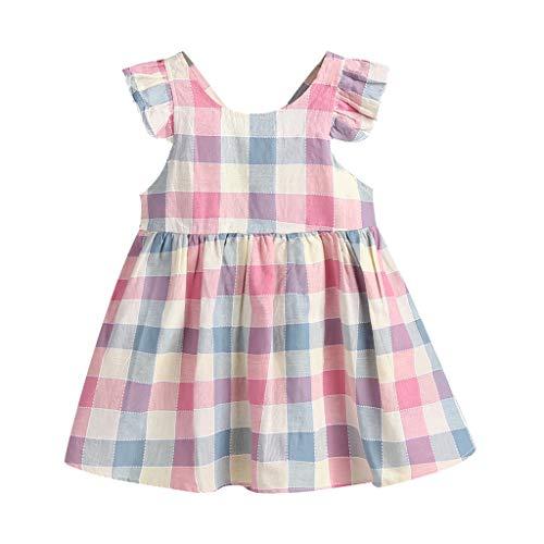 squarex Sommer Kleinkind Baby Mädchen Kinder ärmellose Plaid Print Rückenfreies Kleid Kleidung Süß Und Bequem Freizeitkleidung Plaid Overlay