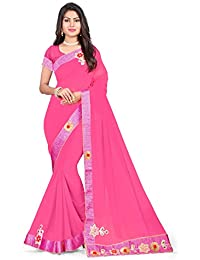 Riva Enterprise Women's Georgette Heavy Bordered Flower And Hand Work Baby Pink Saree With Blouse