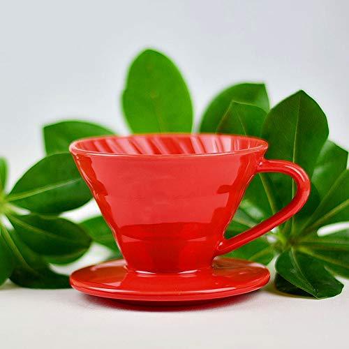 Aegilmc Kaffee-Filter Cone Keramik, Kaffee-Scoop, Filter Paper,V60 Elegant Coffee Dripper Petal Shape,Red (Keramik-kaffee-filter Cone)