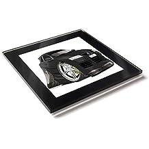 Koolart - Posavasos de cristal con caja de regalo para coche Fiat Stilo, negro,