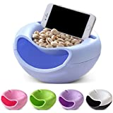 VelKro Multifunctional Creative Melon Seeds Nut Bowl Table Candy Snacks Dry Fruit Holder Storage Box Plate Dish Tray ORGANIZER With Mobile Phone HOLDER Stents STAND - (Multi Color) - 1Pc