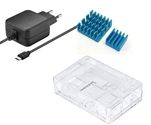 y Pi 3 (03/2016) Gehäuse/Case transparent + Rydges Netzteil 5V 2500mA Micro USB + 2X Ultimate Kühlkörper Blue Edition (3er Set Clear) ()