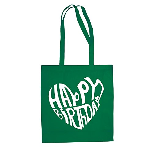 Happy Birthday Design - Baumwolltasche Jutebeutel kellygrün-weiss